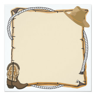 "Country Western Party Invite (blank) 5.25"" Square Invitation Card"