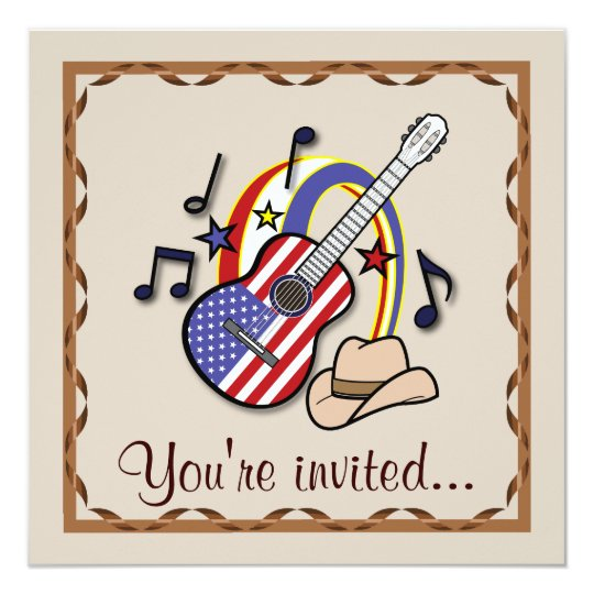 Country Western Party with Guitar Card