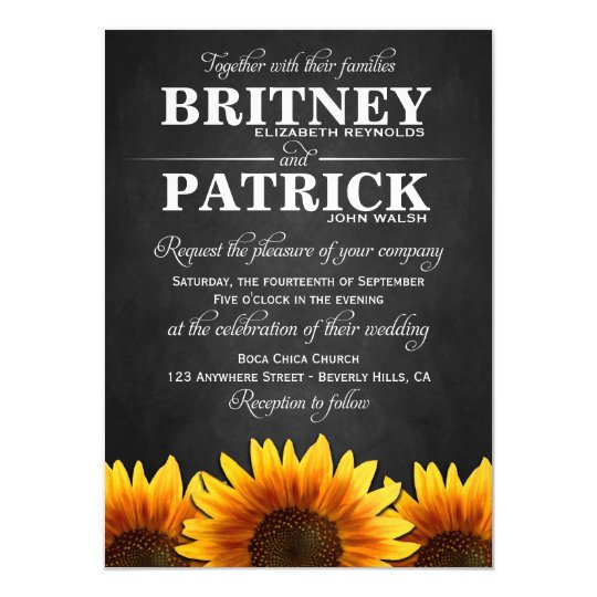 Country Western Sunflower Wedding Invitations