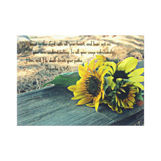 Country-Western, Sunflowers and Bible Verse Canvas Print