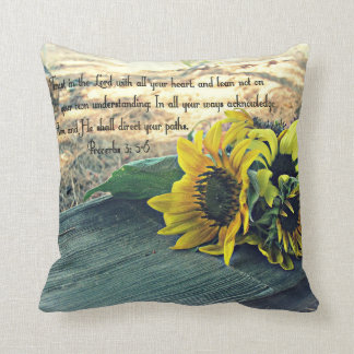Country-Western, Sunflowers and Bible Verse Cushion