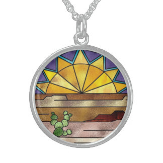 Country Western Sunset Stained Glass design Beauti Round Pendant Necklace