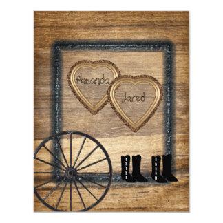 """Country Western Wedding Invitation, Wagon Wheel 4.25"""" X 5.5"""" Invitation Card"""
