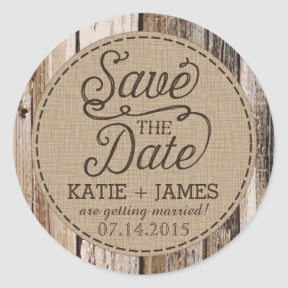 Country Western Wood Rustic Save the Date Label Round Sticker