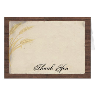 Country Wheat Grass on Parchment Thank You Card