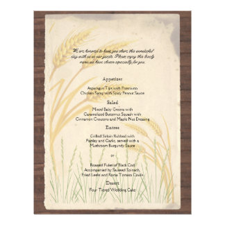 Country Wheat Grass on Parchment Wedding Menu Full Color Flyer