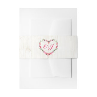 Country Wildflowers Heart Belly Bands Invitation Belly Band