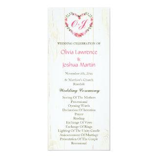Country Wildflowers Heart Wedding Programs