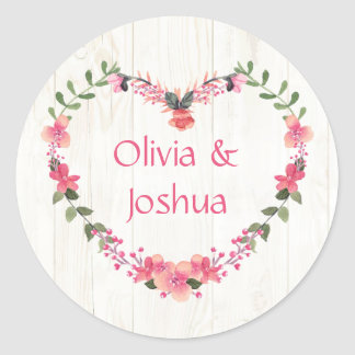 Country Wildflowers Heart Wedding Stickers