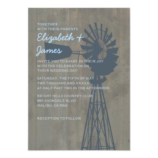 Country Windmill Wedding Invitations