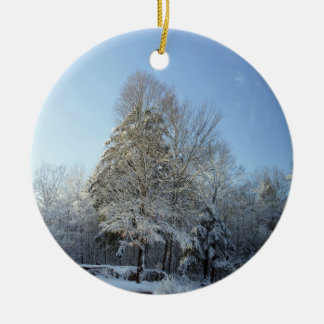 Country Winter Morning Pine Tree Scenes Christmas Ornament