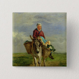 Country Woman Riding a Donkey 15 Cm Square Badge