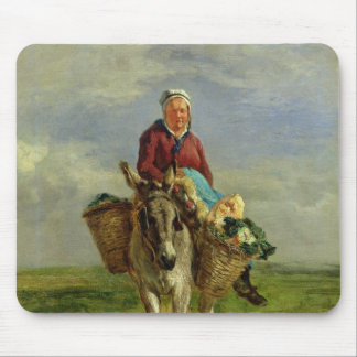 Country Woman Riding a Donkey Mouse Mat