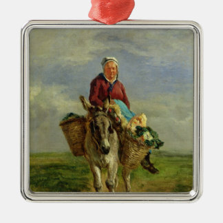 Country Woman Riding a Donkey Silver-Colored Square Decoration