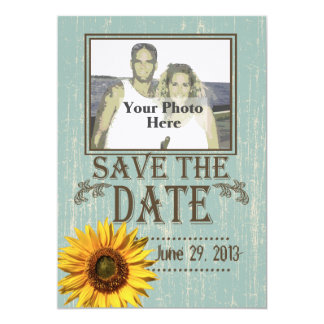 Country Wood and Sunflower Photo Save the Date Card