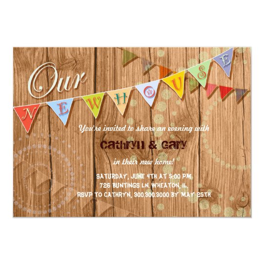 Country Wood Bunting Housewarming Party Invitation