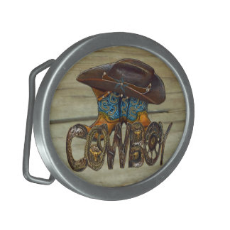 Country Wood Cowboy Oval Belt Buckle
