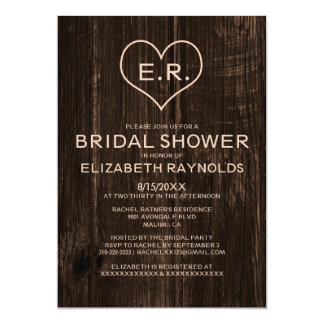 "Country Wood Grain Bridal Shower Invitations 5"" X 7"" Invitation Card"