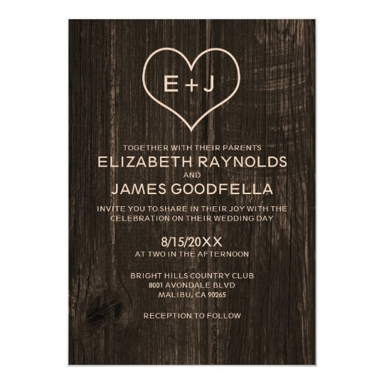 Country Wood Grain Wedding Invitations