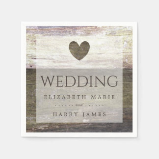 Country Wood Heart Wedding Disposable Serviette