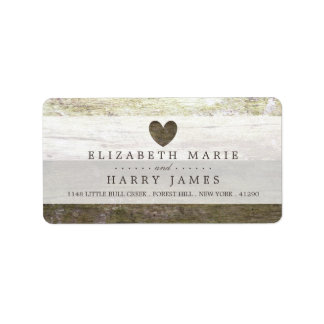 Country Wood Heart Wedding Label