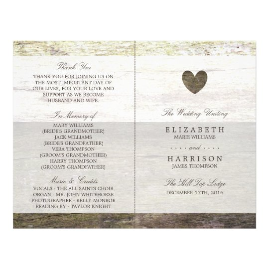 Country Wood Heart Wedding Program 21.5 Cm X