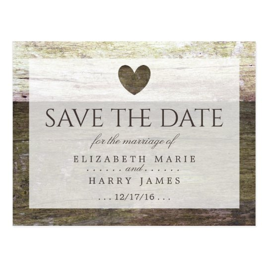 Country Wood Heart Wedding Save The Date Postcard