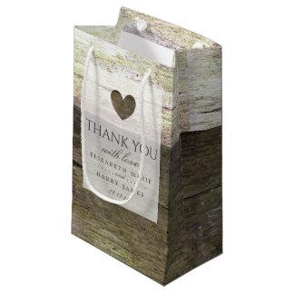 Country Wood Heart Wedding Small Gift Bag