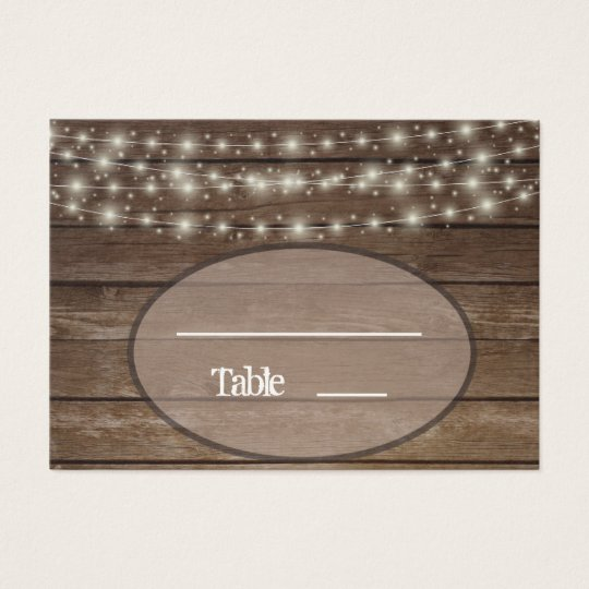 Country Wood Lights Ball Jar Place Card