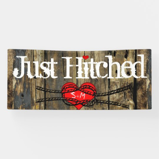Country Wood Lights Just Hitched Heart Knot Banner