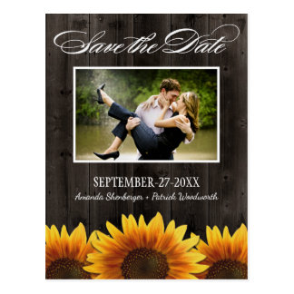Rustic Sunflowers Save The Date Postcards | Zazzle.co.uk
