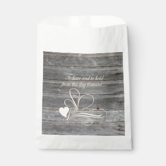 Country Wood Wedding Vows Heart Design Ladybug Favour Bags