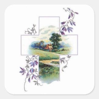 Countryside Christian Cross Square Sticker