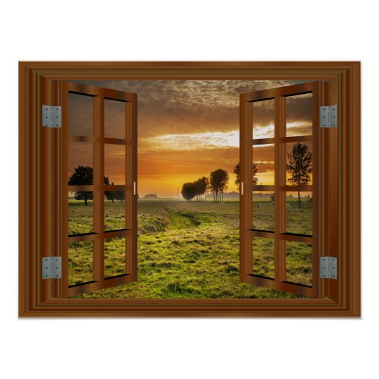 Countryside Cow Farm Faux Window View Sunset USA