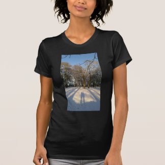 countryside in the snow with two figures T-Shirt