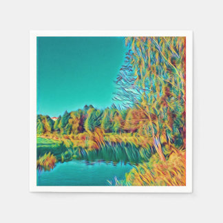 Countryside Landscape Original Art Paper Napkin