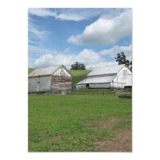 Countryside old white barn 4.5 x 6.25 Flat Card 11 Cm X 16 Cm Invitation Card