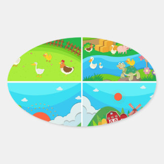 Countryside scene with farmer and animals oval sticker