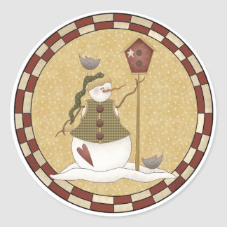 Countryside Snowman Round Sticker