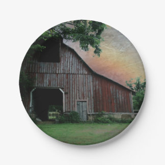 countryside sunset farm landscape old red barn paper plate