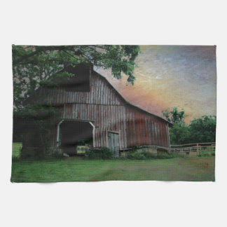 countryside sunset farm landscape old red barn tea towel