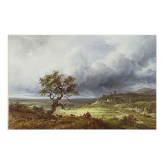 Countryside under a Stormy Sky Poster