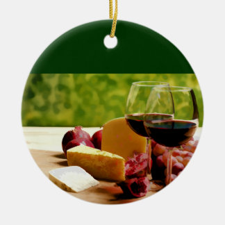 Countryside Wine, Cheese & Fruit Round Ceramic Decoration