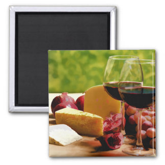 Countryside Wine, Cheese & Fruit Square Magnet