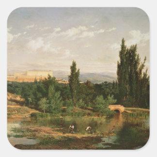 Countryside with a River, Manzanares Square Sticker