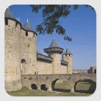 Counts Castle, Carcassonne, Aude, Languedoc, Square Sticker