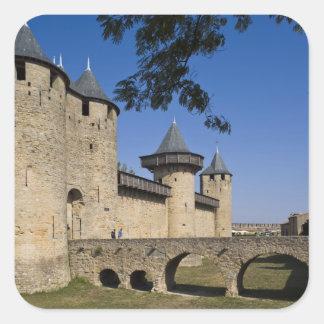 Counts Castle, Carcassonne, Aude, Languedoc, Square Sticker