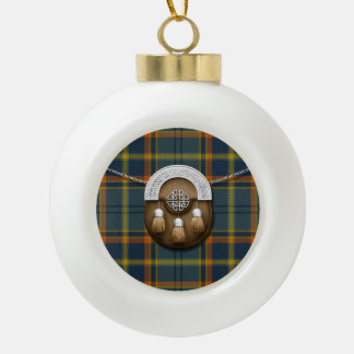 County Antrim Irish Tartan And Sporran Ceramic Ball Christmas Ornament