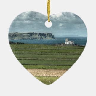 County Antrim's Coastal Causeway, Northern Ireland Ceramic Heart Decoration