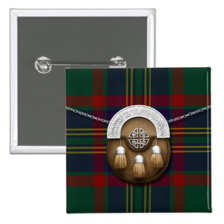 County Cork Irish Tartan And Sporran 15 Cm Square Badge